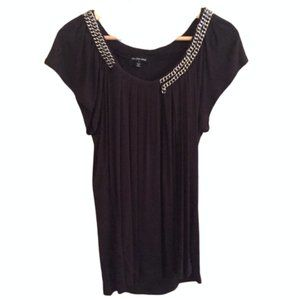 Flowy Black Top with Chains, Size: M